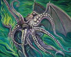 Cthulhu in green water by Metzpah