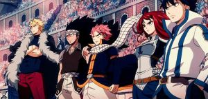 Laxus, Gajeel, Natsu, Erza, and Grey by kanamelover101