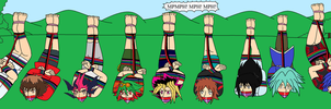 Commission: YuGiOh boys hogtied in the forest by ernet888