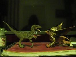 Random beast battle #3: Velociraptor vs. Griffin by RMC1618