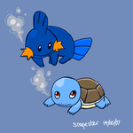Mudkip and Squirtle by Snapester