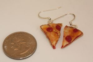 Pepperoni Pizza Slice Earrings by ClayConfectionary