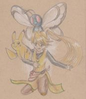 yellow with pikachu and butterfree by sackofsquan
