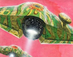 Tamulyaat: a 2 Khekh starships over Toccma by chief2draws