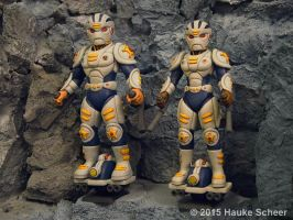 3D printed Male and female future police geared up by hauke3000