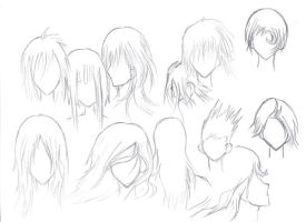Quick Sketches of Hairstyles 2 by Kagemaruya