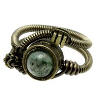 Green Moss Steampunk Ring by CatherinetteRings