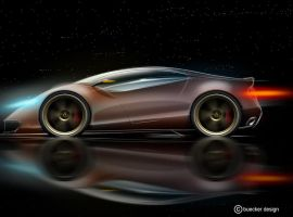 super sport car side view by p-sketch