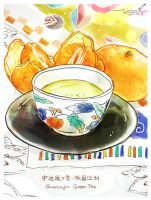 #151 Green Tea and Oranges by tinashan