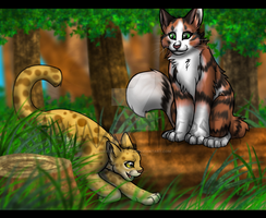 Rosetail n Sunpaw-unistar2000 by InvaderTigerstar