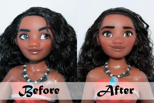 Disney Moana/Vaiana Doll Repaint | Before - After by claude-on-the-road
