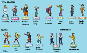 Pokemon Gym Leaders ~ Own sprites(two years later) by SlaxVice86
