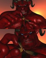 Asmodeus the red giant mega Demon with blue eyes by Spino2006