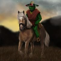 Cowboy Turtle at Sunset by thesadpencil