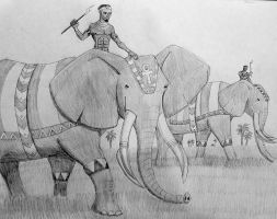Egyptian Elephants on the March by DaBrandonSphere