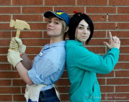 Vanellope Von Schweetz and Fix-it Felix by demonexile0708