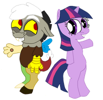 Baby Discord and Filly Twilight by LorettaFox