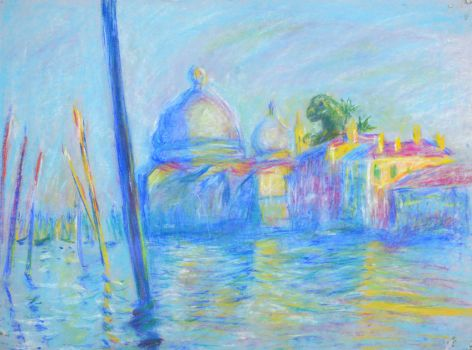 Godzilla in The Grand Canal in Venice by Monet by LCNarwhal