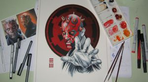 WIP - Darth Maul Commissioned Painting by Erik-Maell