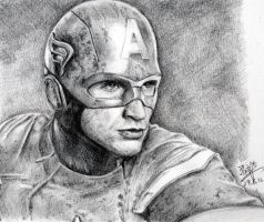 Pencil sketch of Captain America by chaseroflight
