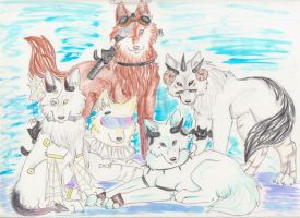 Gaia Wolf Pack Comission by DarkChibiWolf