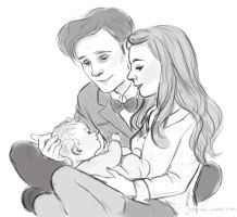 The Doctor with Amy and Melody Pond by DaiskiAnimeJ