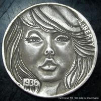 Pinup Face Carved coin by Shaun Hughes by shaun750