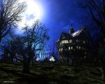 the moon and a house by tootes72