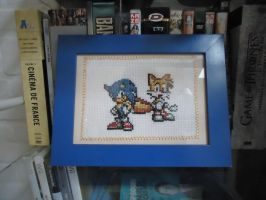 Cross stitch Sonic and Tails by Miloceane