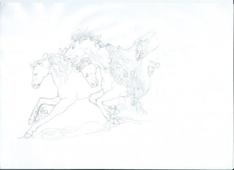 Horses sketch by Malaurielle