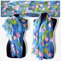 Silk scarf Waterlilies 2.0 - FOR SALE by MinkuLul