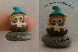 Little elf on a stone with personal name fimo by bimbalove81