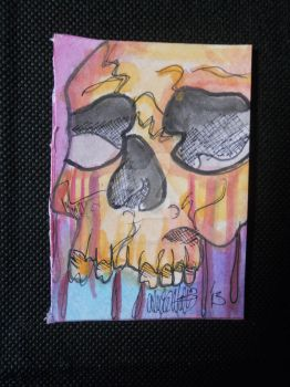 Skull ACEO by x-ladylex-o