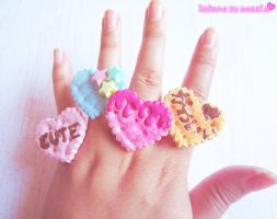 Kawaii Heart Biscuit Rings by kpossibles