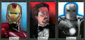 Iron Man Movie Sketch Cards by RandySiplon