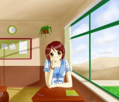 Rin in classroom by mkw-no-ossan