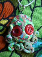 Green Patchwork Stitchpunk Octopus Charm by BlackMagdalena