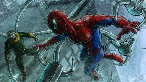 Spidey vs Doc Ock by Kenpudiosaki