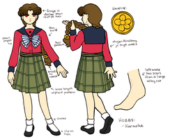Akina Yuri - School Uniform Reference Sheet by sakkysa