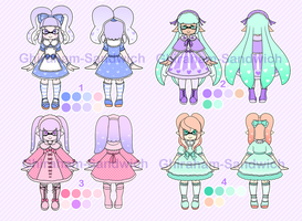 Sweet Lolita Inkling Adoptables Set 1 [CLOSED] by Ghiraham-Sandwich