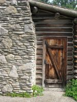 00129 - Wood Log Cabin Door and Stone Chimney by emstock