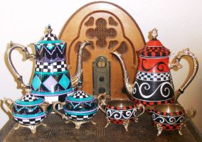 Hand painted Silver Tea sets by mistyscreations