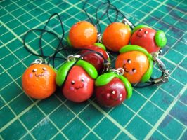 Cherry and Orange Phone Charms by Vinnie14