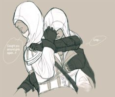 Altair Ezio caught on the spot by ameij