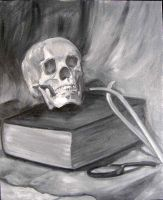 Still Life With Skull and Book by ShellzArt