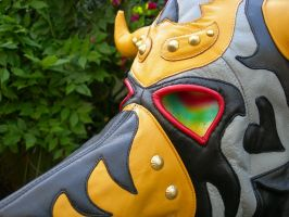 Yellow Horned Leather Plague Mask Face Detail by LeatherHead72