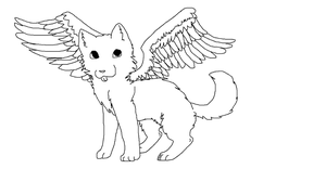 Winged Wolf Lineart by DA-donar