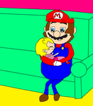 Mario holds toolder Flora by NyanSonia