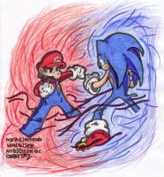 Mario vs. Sonic by taz52