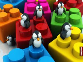 Archigraphs Penguins Wallpaper by Cyberella74